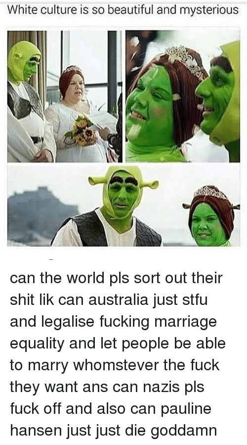Beautiful, Fucking, and Marriage: White culture is so beautiful and mysterious can the world pls sort out their shit lik can australia just stfu and legalise fucking marriage equality and let people be able to marry whomstever the fuck they want ans can nazis pls fuck off and also can pauline hansen just just die goddamn
