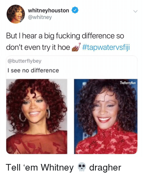 Fucking, Hoe, and Memes: whitneyhouston  @whitney  But l hear a big fucking difference so  don't even try it hoe g/ #tapwatervsfiji  @butterflybey  I see no difference  TheHornyNun Tell 'em Whitney 💀 dragher