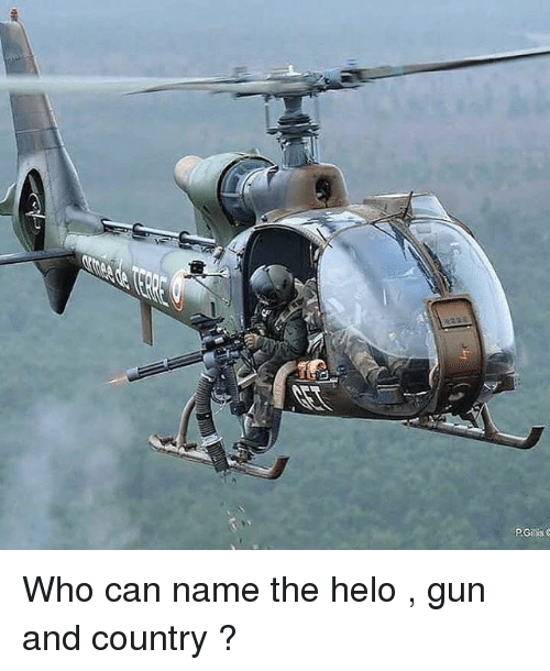Memes, 🤖, and Gun: Who can name the helo , gun and country ?