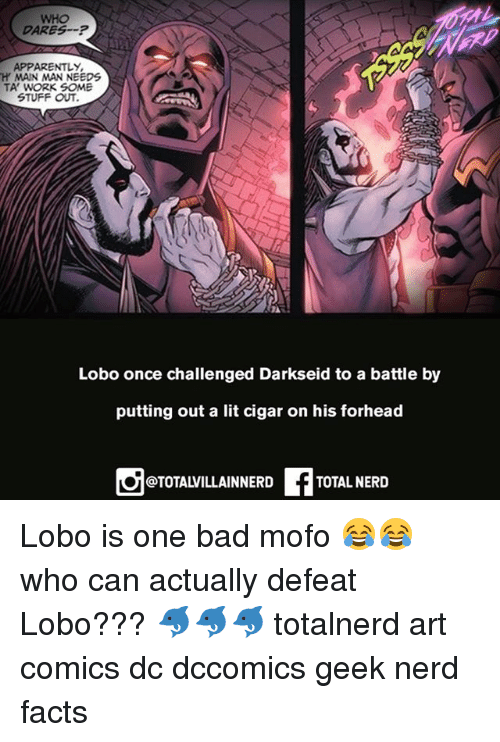 cigar: WHO  DARESP  APPARENTLY  H MAIN MAN NEEDS  TA' WORK SOME  STUFF OUT  Lobo once challenged Darkseid to a battle by  putting out a lit cigar on his forhead  @TOTALVILLAINNERD  TOTAL NERID Lobo is one bad mofo 😂😂 who can actually defeat Lobo??? 🐬🐬🐬 totalnerd art comics dc dccomics geek nerd facts