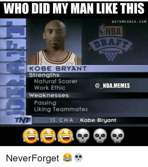 Nba Memes: WHO DID MY MAN LIKE THIS  GOTEMCOACH. COM  INBA  KOBE BRYANT  Strengths  Natural Scorer  Work Ethic  @NBA.MEMES  Weaknesses  Passing  Liking Teammates  13. CHA  Kobe Bryant NeverForget 😂💀