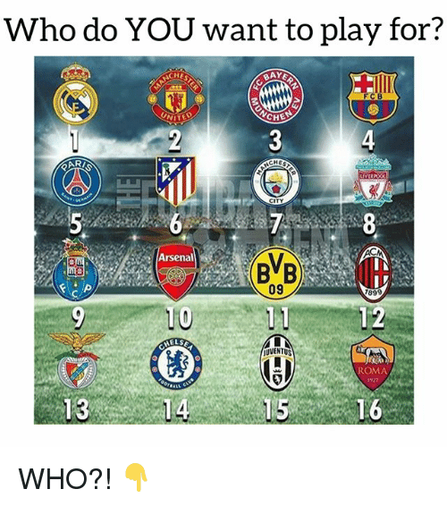 Arsenal, Soccer, and Sports: Who do YOU want to play for?  CHE  BAY  FCB  NITED  YCHE  4  Mil  ARI  CHES  Arsenal  BB  09  1899  MELSE  UVENTUS  ROMA  1927 WHO?! 👇