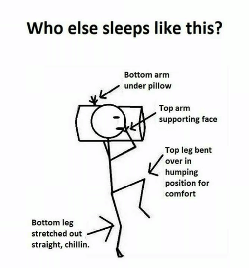 legs bent: Who else sleeps like this?  Bottom arm  Lunder pillow  Top arm  supporting face  Top leg bent  over in  humping  position for  comfort  Bottom leg  stretched out  straight, chlin.  straight, chillin.