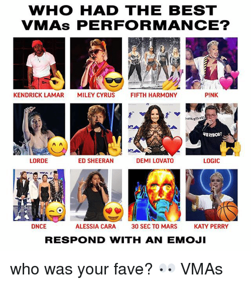 Demi Lovato, Emoji, and Katy Perry: WHO HAD THE BEST  VMAs PERFORMANCE?  KENDRICK LAMAR  MILEY CYRUS  FIFTH HARMONY  PINK  -800-273-as  VERYBODY  LORDE  ED SHEERAN  DEMI LOVATO  LOGIC  IA  フ「  DNCE  ALESSIA CARA  30 SEC TO MARS  KATY PERRY  RESPOND WITH AN EMOJI who was your fave? 👀 VMAs