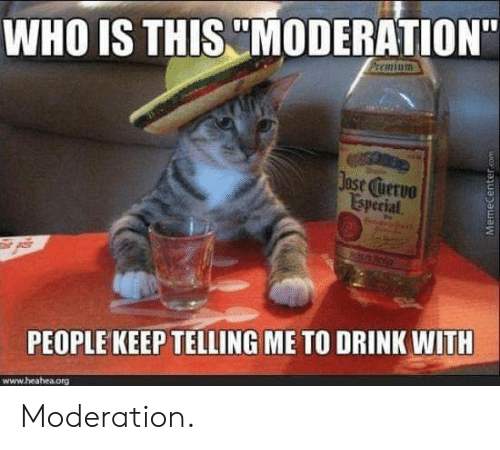"Moderation, Who, and Org: WHO IS THIS MODERATION""  ase uervo  Isperial  PEOPLE KEEP TELLING ME TO DRINK WITH  www.heahea.org Moderation."
