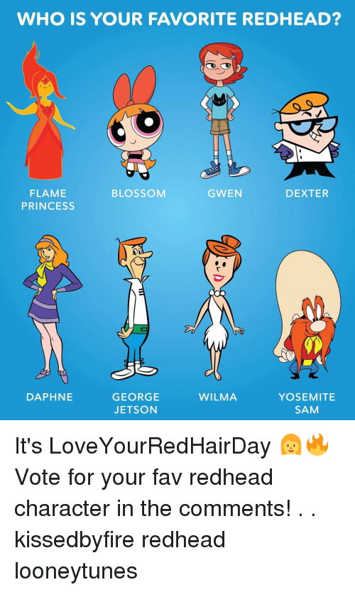 Memes, Dexter, and Princess: WHO IS YOUR FAVORITE REDHEAD?  BLOSSOM  GWEN  DEXTER  FLAME  PRINCESS  DAPHNE  WILMA  GEORGE  JETSON  YOSEMITE  SAM It's LoveYourRedHairDay 👩‍🔥 Vote for your fav redhead character in the comments! . . kissedbyfire redhead looneytunes