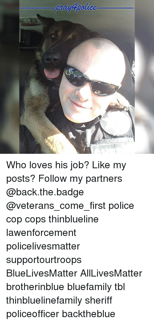 All Lives Matter, Memes, and Police: Who loves his job? Like my posts? Follow my partners @back.the.badge @veterans_сome_first police cop cops thinblueline lawenforcement policelivesmatter supportourtroops BlueLivesMatter AllLivesMatter brotherinblue bluefamily tbl thinbluelinefamily sheriff policeofficer backtheblue
