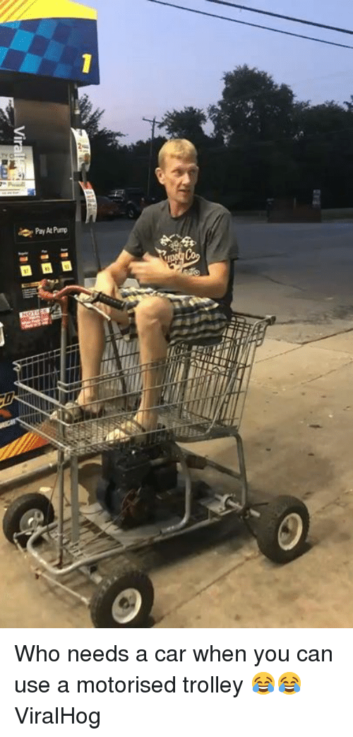 Dank, Trolley, and 🤖: Who needs a car when you can use a motorised trolley 😂😂  ViralHog