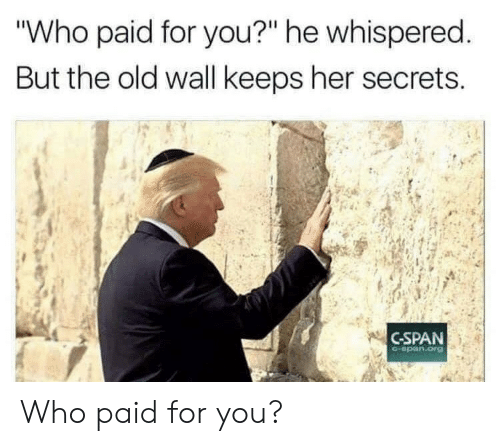 """secrets: """"Who paid for you?"""" he whispered.  But the old wall keeps her secrets  C-SPAN  C-span.org Who paid for you?"""