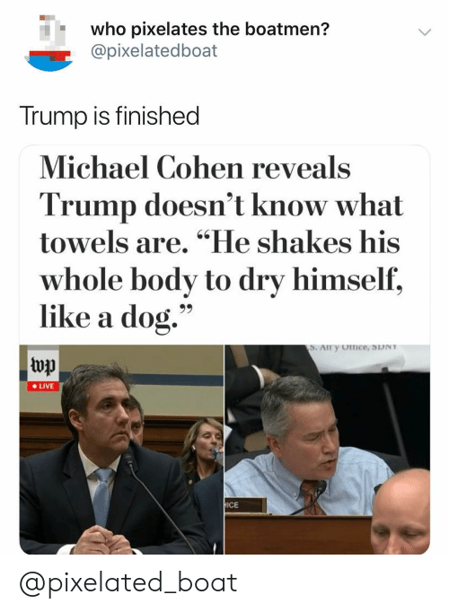 """Live, Michael, and Trump: who pixelates the boatmen?  @pixelatedboat  Trump is finished  Michael Cohen reveals  Trump doesn't know what  towels are. """"He shakes his  whole body to dry himself,  like a dog.""""  top  e LIVE  ICE @pixelated_boat"""