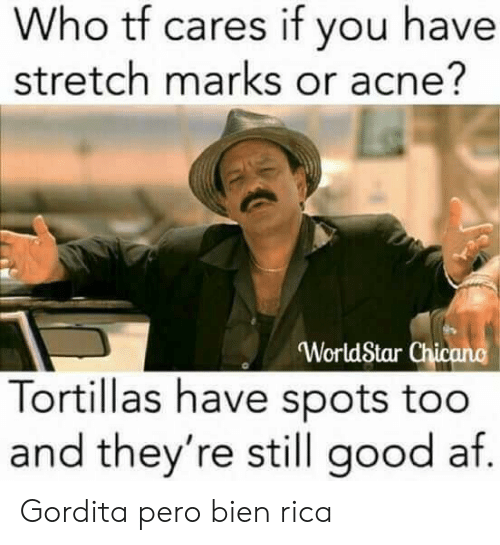 chicano: Who tf cares if you have  stretch marks or acne?  WorldStar Chicano  Tortillas have spots too  and they're still good af  0 Gordita pero bien rica