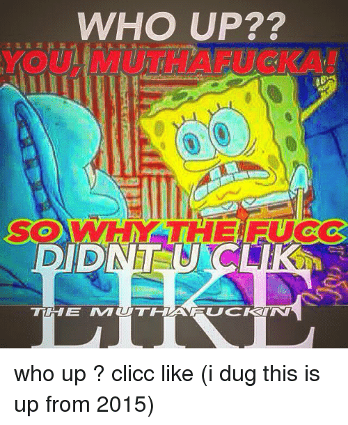 Dank Memes, Who, and This: WHO UP??  YOULMUTHAFUCKA! who up ? clicc like (i dug this is up from 2015)