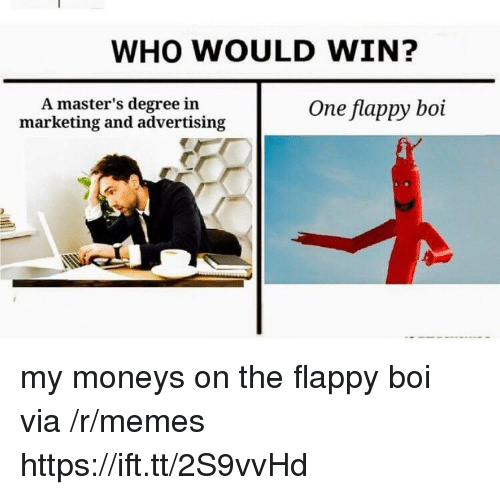 Memes, Masters, and Boi: WHO WOULD WIN?  A master's degree in  marketing and advertising  One flappy boi my moneys on the flappy boi via /r/memes https://ift.tt/2S9vvHd