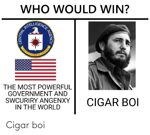 History, United, and World: WHO WOULD WIN?  ATELLIGENCE  UNITED STATES OF ARMERICA  THE MOST POWERFUL  GOVERNMENT AND  SWCURIRY ANGENXY  IN THE WORLD  CIGAR BOI  AGENCY  CENTRAL Cigar boi