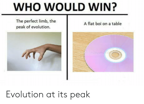 Evolution, Boi, and Table: WHO WOULD WIN?  The perfect limb, the  peak of evolution.  A flat boi on a table Evolution at its peak