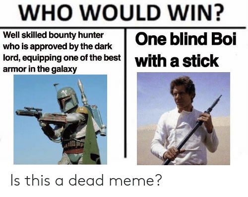 Meme, Best, and Approved: WHO WOULD WIN?  Well skilled bounty hunter  who is approved by the dark  lord, equipping one of the best| with a  armor in the galaxy  eticok Is this a dead meme?