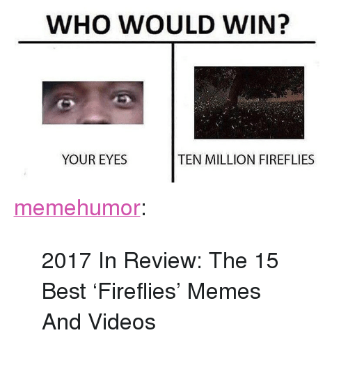 """Memes, Tumblr, and Videos: WHO WOULD WIN?  YOUR EYES  TEN MILLION FIREFLIES <p><a href=""""http://memehumor.net/post/168374816037/2017-in-review-the-15-best-fireflies-memes-and"""" class=""""tumblr_blog"""">memehumor</a>:</p>  <blockquote><p>2017 In Review: The 15 Best 'Fireflies' Memes And Videos</p></blockquote>"""