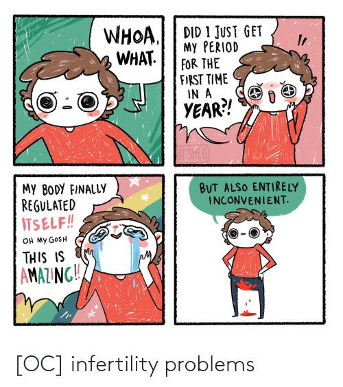period: WHOA.  WHAT.  DID 1 JUST GET  My PERIOD  FOR THE  FIRST TIME  IN A  YEAR?!  IT'SMEG  MY BODY FINALLY  REGULATED  ITSELF!!  BUT ALSO ENTIRELY  INCONVENIENT.  OH MY GOSH  THIS IS  AMAZING!! [OC] infertility problems