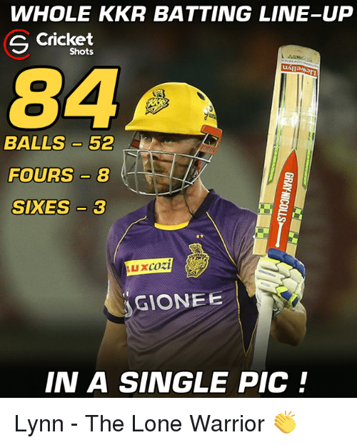 Memes, Cricket, and Single: WHOLE KKR BATTING LINE-UP  Cricket  S Shots  84  BALLS 52  FOURS 8  SIKES 3  LUX cozi  GIONEE  IN A SINGLE PIC Lynn - The Lone Warrior 👏