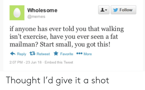 Memes, Exercise, and Fat: Wholes ome  Follow  @memes  if anyone has ever told you that walking  isn't exercise, have you ever seen a fat  mailman? Start small, you got this!  Reply Retweet  Favorite More  2:07 PM -23 Jun 18  Embed this Tweet Thought I'd give it a shot