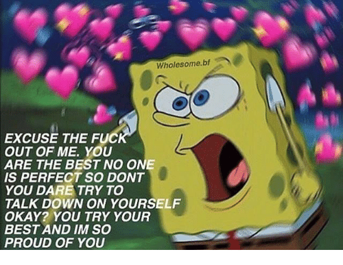 So Proud Of You: Wholesome.bf  EXCUSE THE FUC  OUT OF ME. YOU  ARE THE BEST NO ONE  IS PERFECT SO DONT  YOU DARE TRY TO  TALK DOWN ON YOURSELF  OKAY? YOU TRY YOUR  BEST AND IM SO  PROUD OF YOU