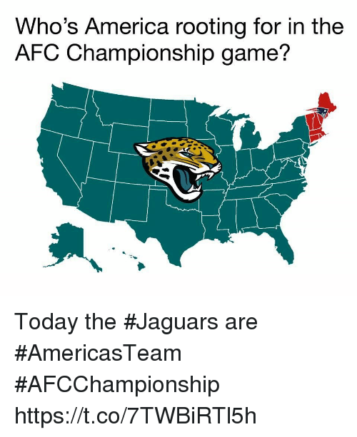 AFC Championship Game, America, and Nfl: Who's America rooting for in the  AFC Championship game? Today the #Jaguars are #AmericasTeam  #AFCChampionship https://t.co/7TWBiRTl5h