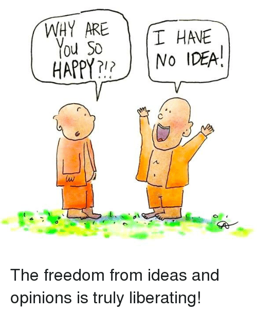 Opinionating: WHY ARE  T HAVE  You So  NO IDEA!  HAPPY The freedom from ideas and opinions is truly liberating!