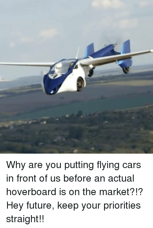 Cars, Dank, and Future: Why are you putting flying cars in front of us before an actual hoverboard is on the market?!?  Hey future, keep your priorities straight!!