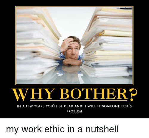 Demotivational Quotes For The Workplace Quotesgram: WHY BOTHER P IN A FEW YEARS YOU LL BE DEAD AND IT WILL BE