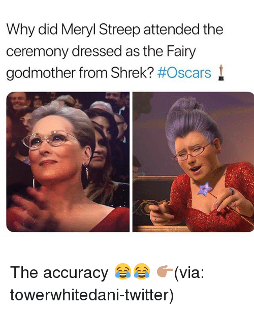 meryl: Why did Meryl Streep attended the  ceremony dressed as the Fairy  godmother from Shrek? #Oscars l The accuracy 😂😂 👉🏽(via: towerwhitedani-twitter)