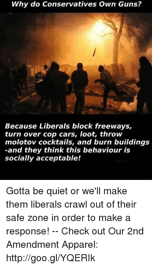 Safe Zone: Why do Conservatives Own Guns?  Because Liberals block freeways,  turn over cop cars, loot, throw  molotov cocktails, and burn buildings  -and they think this behaviour is  socially acceptable! Gotta be quiet or we'll make them liberals crawl out of their safe zone in order to make a response! -- Check out Our 2nd Amendment Apparel: http://goo.gl/YQERIk