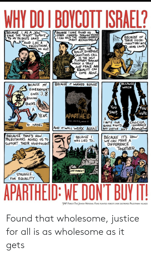 """Struggle, Work, and Israel: WHY DO I BOYCOTT ISRAEL?  BECAUSE, AS A JEW  HAVE THE RIGHT"""" TOMOVE  To MY FRI ENDS LAND  AND L,AS A  PALESTINIAN  DO NOT  BECAUSE 1 HAVE FoUND NO  OTHER CHANNEL THROUGH WHICH  I CAN HOLD THE ISRAELI GOVERN  MENT ACCOUNTABLE  BECAUSE OF  THEIR DISCRI  MINATORY ANTH  -ARAB LAWS  AND THE  8OYCOTT OrVETMENT  SANCTIONS CALL  IS THE ONLY  PLATFORM THROUGH  WHICH A TRULY  JuST PEACE AND  EQUALITY CAN  COME ABOUT  BECAUSE  WHEN  BECAUSE IT WORKED BEFORE  BECAUSE MY  GOVERNMENT  GIVES 3.8  BILLION  Bucks  You  SHOP  You  VOTE  A  APARTHEID  YEAR  &  I VOTE FOR  HUMAN RIGHTS  No NCN  CYNICISM  IGNORANCE  