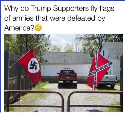 America, Memes, and Trump: Why do Trump Supporters fly flags  of armies that were defeated by  America?