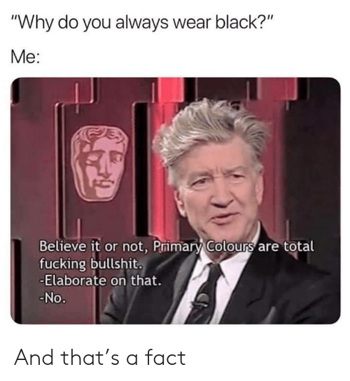 """Colours: """"Why do you always wear black?""""  Me:  Believe it or not, Primary Colours are total  fucking bullshit.  -Elaborate on that.  No. And that's a fact"""