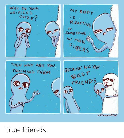 Friends, True, and Best: WHY DO YOUR  ORIFICES  MY BODY  REACTING  TO  SOMETHING  IN THESE  FIBERS  THEN WHY ARE YOU  BECAUSE WE'RE  TOUCHING THEM  BEST  FRIENDS  NATHANWPYLE True friends