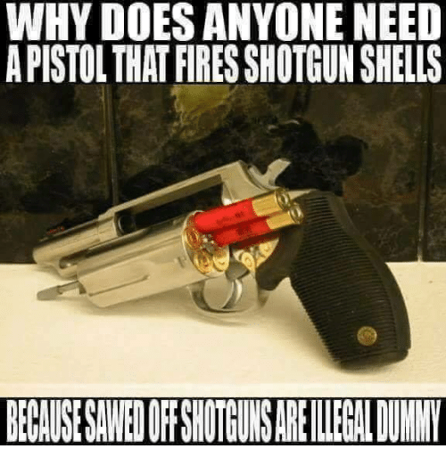 Memes, 🤖, and Shotgun: WHY DOES ANYONE NEED  A PISTOL THAT FIRES SHOTGUN SHELLS  BECALUSE SAWED OFFSHOTGUNS ARE IEGAL DUNNY