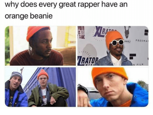 beanie: why does every great rapper have an  orange beanie  | SİDE  ARKO FREEMA  RATOR
