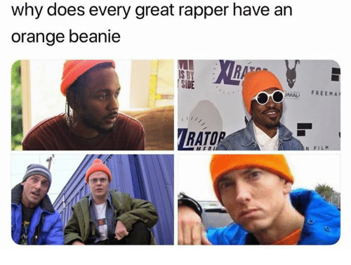 Orange, Film, and Rat: why does every great rapper have an  orange beanie  RAT  S BY  SIDE  ARKO FREEMA  RATO  N FILM  /2