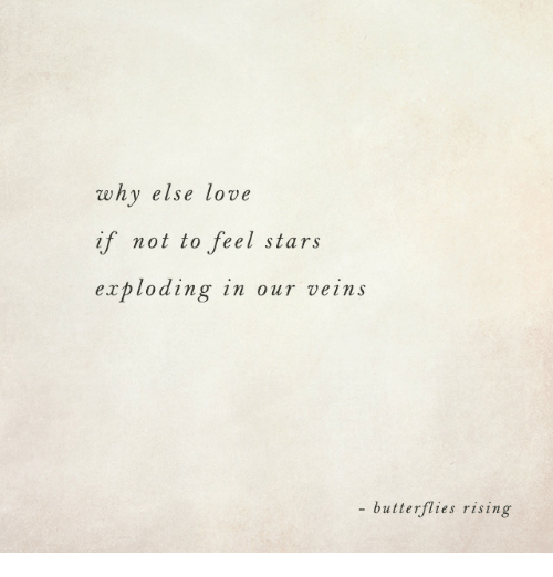 Love, Stars, and Why: why else love  if not to feel stars  exploding in our veins  butterflies rising