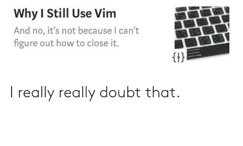 How To, Doubt, and How: Why I Still Use Vim  And no, it's not because I can't  figure out how to close it.  Gt I really really doubt that.