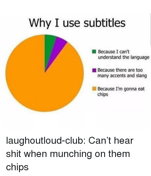 accents: Why I use subtitles  Because I can't  understand the language  Because there are too  many accents and slang  Because I'm gonna eat  chips laughoutloud-club:  Can't hear shit when munching on them chips