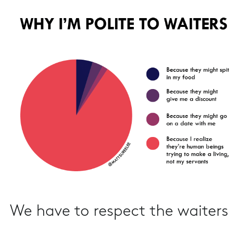 Food, Respect, and Date: WHY I'M POLITE TO WAITERS  Because they might spit  in my food  Because they might  give me a discount  Because they might go  on a date with me  Because I realize  they're human beings  trying to make a living,  not my servants  @MATTSUREELEE We have to respect the waiters