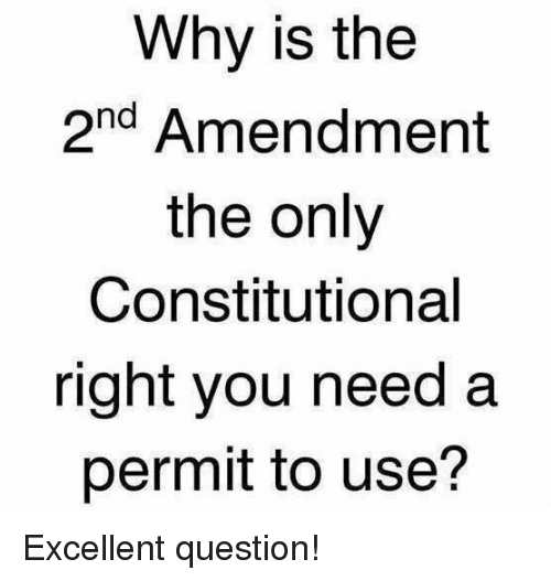 2nd Amendment: Why is the  2nd Amendment  the only  Constitutional  right you need a  permit to use? Excellent question!