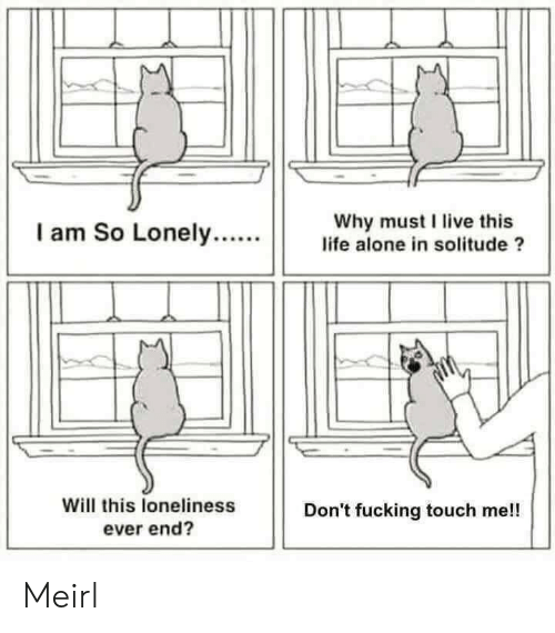 Being Alone, Fucking, and Life: Why must I live this  life alone in solitude ?  I am So Lonely....  Will this loneliness  ever end?  Don't fucking touch me!! Meirl