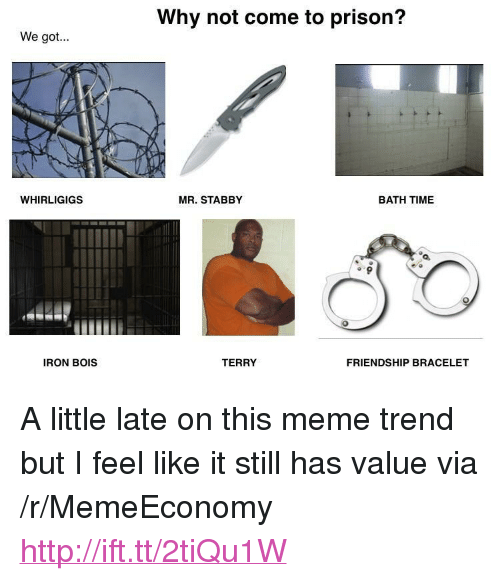 """bath time: Why not come to prison?  We got  WHIRLIGIGS  MR. STABBY  BATH TIME  IRON BOIS  TERRY  FRIENDSHIP BRACELET <p>A little late on this meme trend but I feel like it still has value via /r/MemeEconomy <a href=""""http://ift.tt/2tiQu1W"""">http://ift.tt/2tiQu1W</a></p>"""