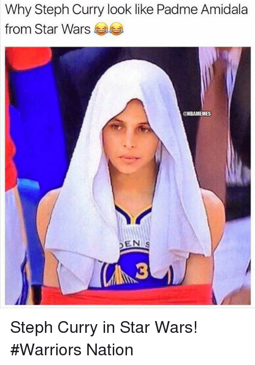 Nba, Padme Amidala, and Star Wars: Why Steph Curry look like Padme Amidala  from Star Wars  DNBAMEMES  DEN Steph Curry in Star Wars! #Warriors Nation