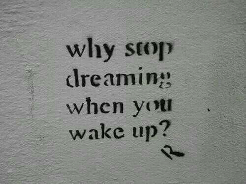 Why, Wake, and You: why stop  lreamin  when you  wake up?