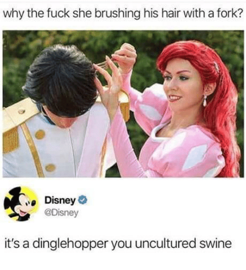 Disney, Fuck, and Hair: why the fuck she brushing his hair with a fork?  Disney  @Disney  it's a dinglehopper you uncultured swine