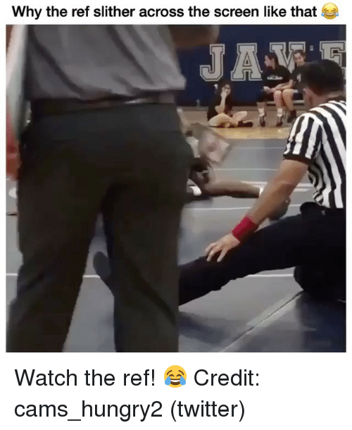 Memes, Twitter, and Watch: Why the ref slither across the screen like that Watch the ref! 😂 Credit: cams_hungry2 (twitter)