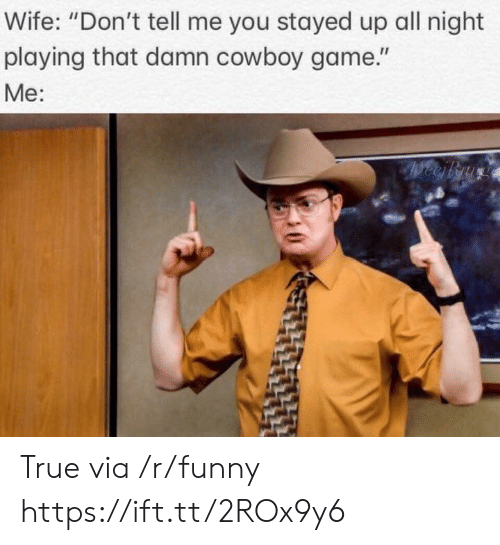 """Funny, True, and Game: Wife: """"Don't tell me you stayed up all night  playing that damn cowboy game.""""  Me: True via /r/funny https://ift.tt/2ROx9y6"""